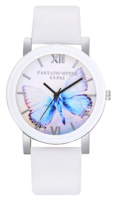 P672 Big Butterfly Mirror Student Watch - WHITE