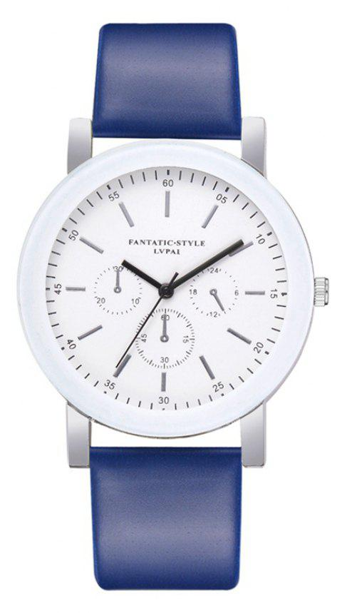 P674 Candy Color Leather Student Watch - BLUE