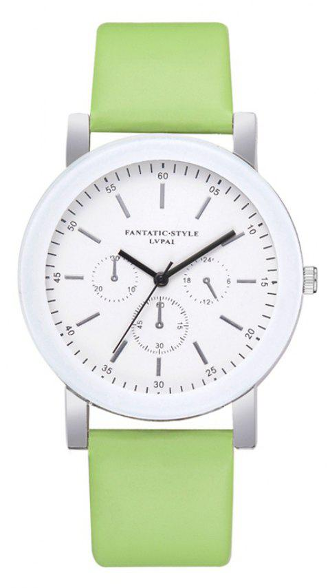 P674 Candy Color Leather Student Watch - GREEN