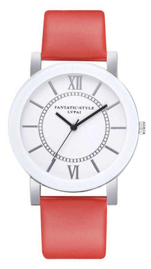 P676 Ladies PU Fashion Leather Watch - RED