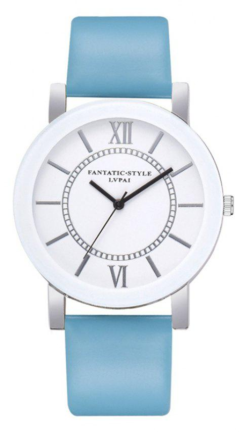 P676 Ladies PU Fashion Leather Watch - SKY BLUE
