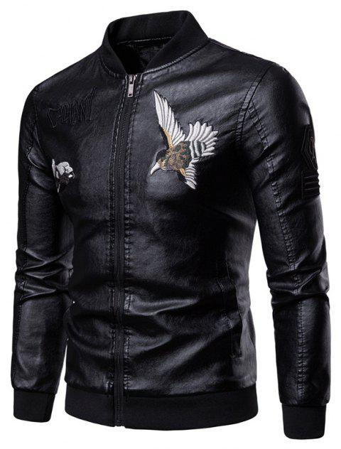 Men'S Fashion Personality Embroidered Leather Jacket - BLACK 3XL