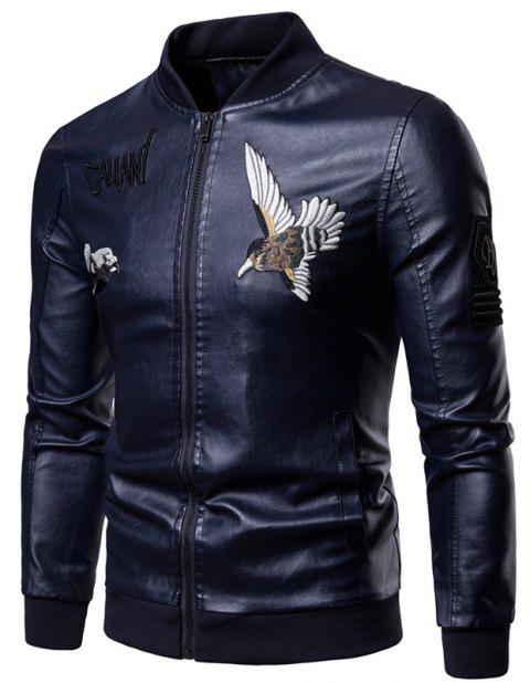 Men'S Fashion Personality Embroidered Leather Jacket - DEEP BLUE 3XL