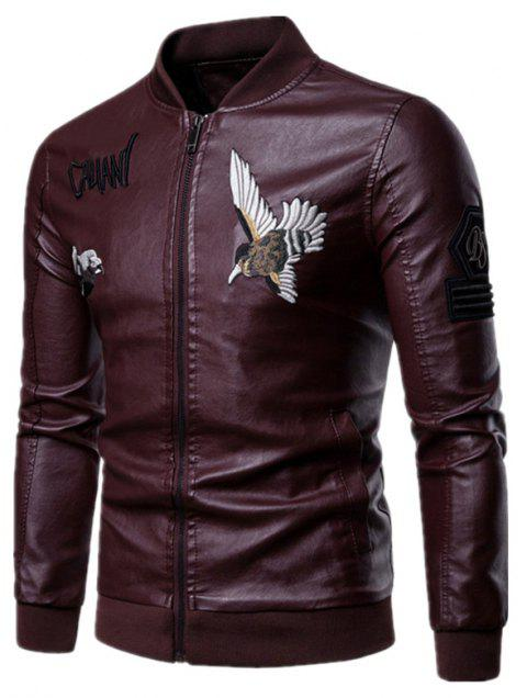Men'S Fashion Personality Embroidered Leather Jacket - RED WINE XL