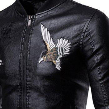 Men'S Fashion Personality Embroidered Leather Jacket - BLACK XL