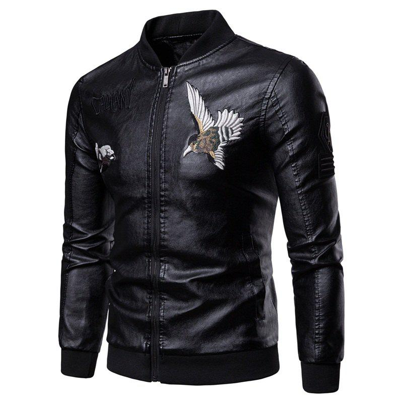 Men'S Fashion Personality Embroidered Leather Jacket - BLACK L