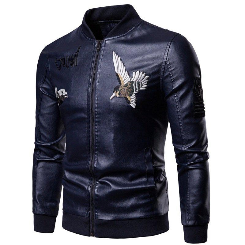 Men'S Fashion Personality Embroidered Leather Jacket - DEEP BLUE L