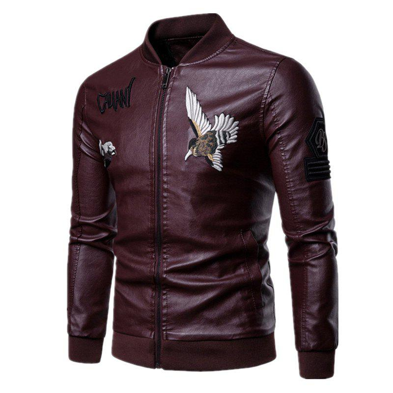 Men'S Fashion Personality Embroidered Leather Jacket - RED WINE 2XL