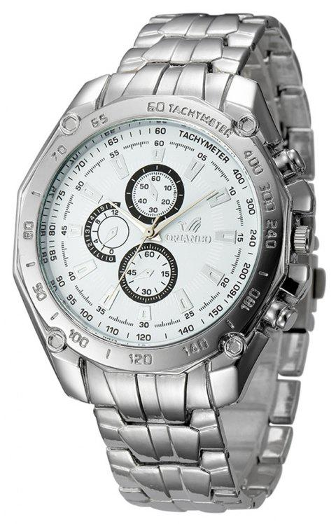 Fashion Casual Large Dial Stainless Steel Analog Military Watch - WHITE