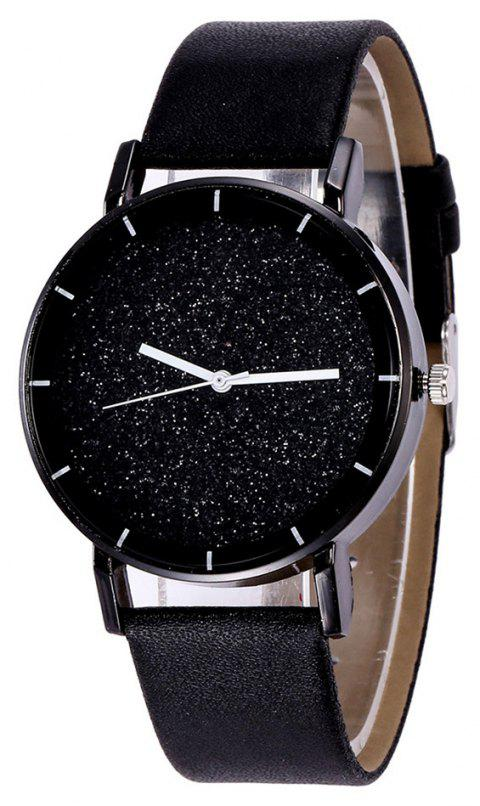 Fashion New Design Creative Sparkle Large Dial Leather Quartz Dress Watch - BLACK