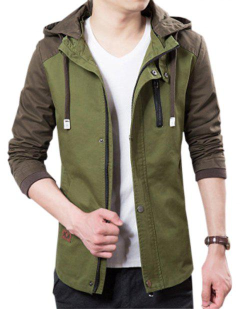 Men's Casual Trend Hooded Jacket - ARMY GREEN 3XL