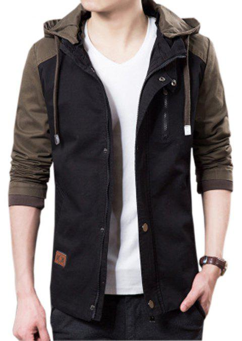 Men's Casual Trend Hooded Jacket - BLACK XL