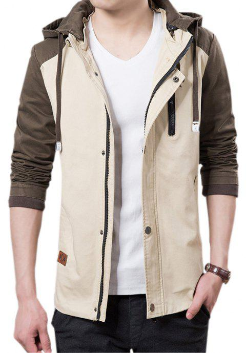 Men's Casual Trend Hooded Jacket - LIGHT KHAKI XL