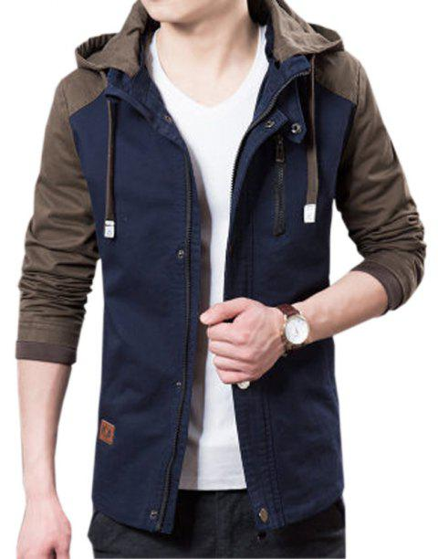 Men's Casual Trend Hooded Jacket - DEEP BLUE L