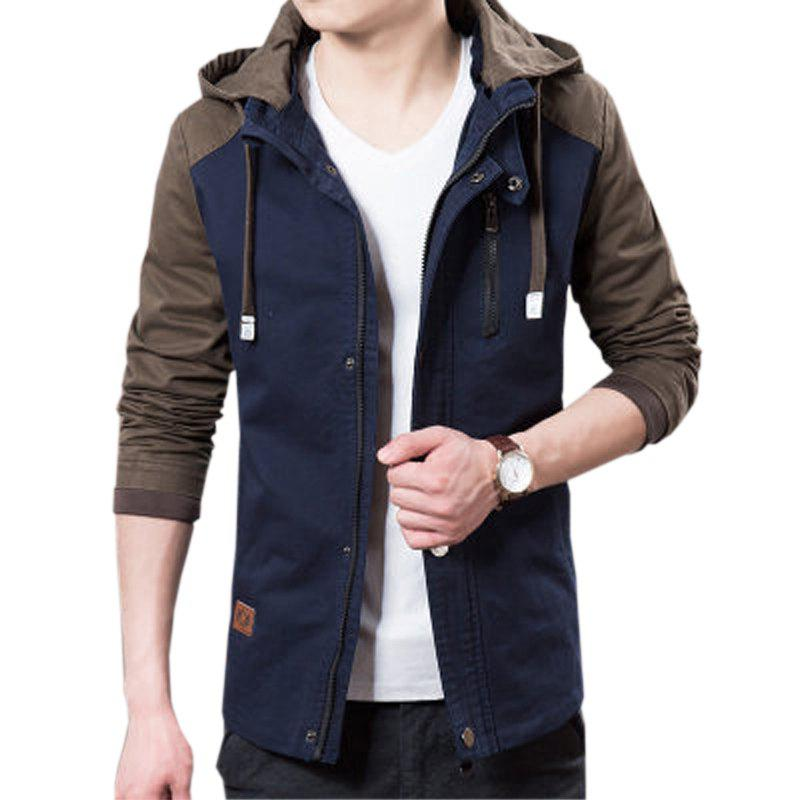 Men's Casual Trend Hooded Jacket - DEEP BLUE 3XL