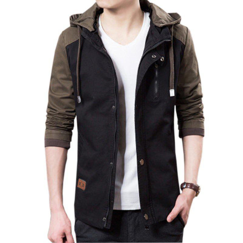 Men's Casual Trend Hooded Jacket - BLACK 3XL