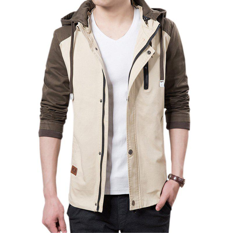 Men's Casual Trend Hooded Jacket - LIGHT KHAKI 3XL