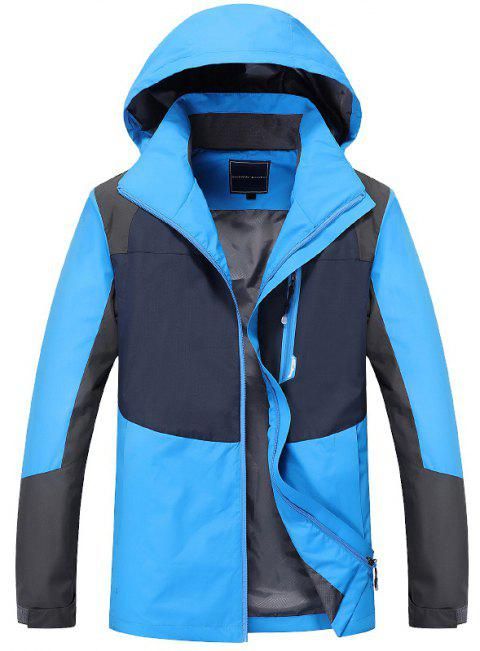 Couple Trench Coat Stylish Patchwork Colorblock Water-resistant Hooded Climbing - SKY BLUE XL