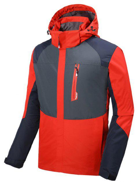 Couple Trench Coat Stylish Patchwork Colorblock Water-resistant Hooded Climbing - RED L