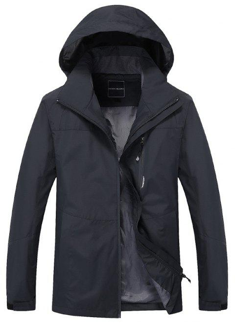 Couple Trench Coat Stylish Patchwork Colorblock Water-resistant Hooded Climbing - DARK GRAY XL