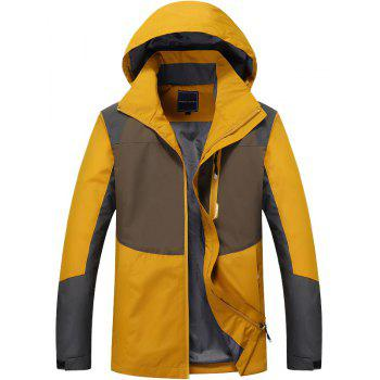 Couple Trench Coat Stylish Patchwork Colorblock Water-resistant Hooded Climbing - ORANGE GOLD 2XL