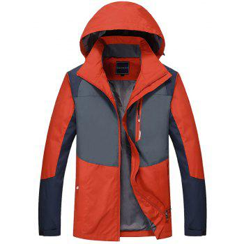 Couple Trench Coat Stylish Patchwork Colorblock Water-resistant Hooded Climbing - RED XL