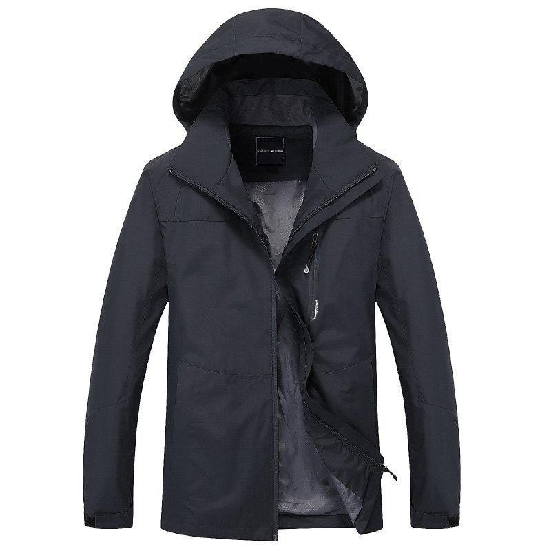 Couple Trench Coat Stylish Patchwork Colorblock Water-resistant Hooded Climbing - DARK GRAY 2XL