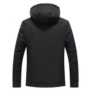 Men Quilted  Solid Color Hooded Casual Trendy Thicken Coat - BLACK XL