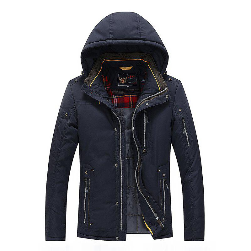 Men Quilted  Solid Color Hooded Casual Trendy Thicken Coat - DEEP BLUE L
