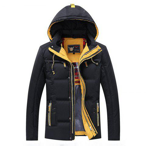 Men Quilted  Solid Color Long Sleeve Trendy Warm Hooded Coat - BLACK M
