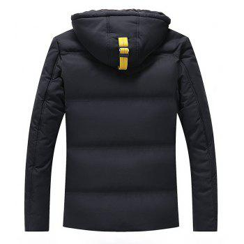 Men Quilted  Solid Color Long Sleeve Trendy Warm Hooded Coat - BLACK 2XL