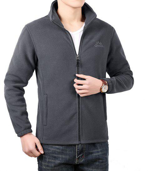 Men Casual Jacket Thicken Long Sleeve Stand Collar  Clothing - GRAY M