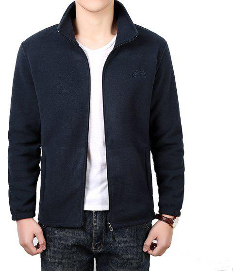 Men Casual Jacket Thicken Long Sleeve Stand Collar  Clothing - DEEP BLUE L