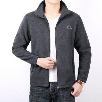 Men Casual Jacket Thicken Long Sleeve Stand Collar  Clothing - GRAY 3XL