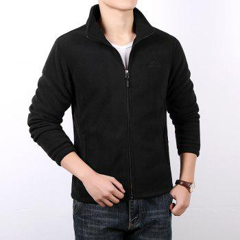 Men Casual Jacket Thicken Long Sleeve Stand Collar  Clothing - BLACK L