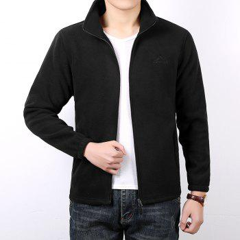 Men Casual Jacket Thicken Long Sleeve Stand Collar  Clothing - BLACK 3XL