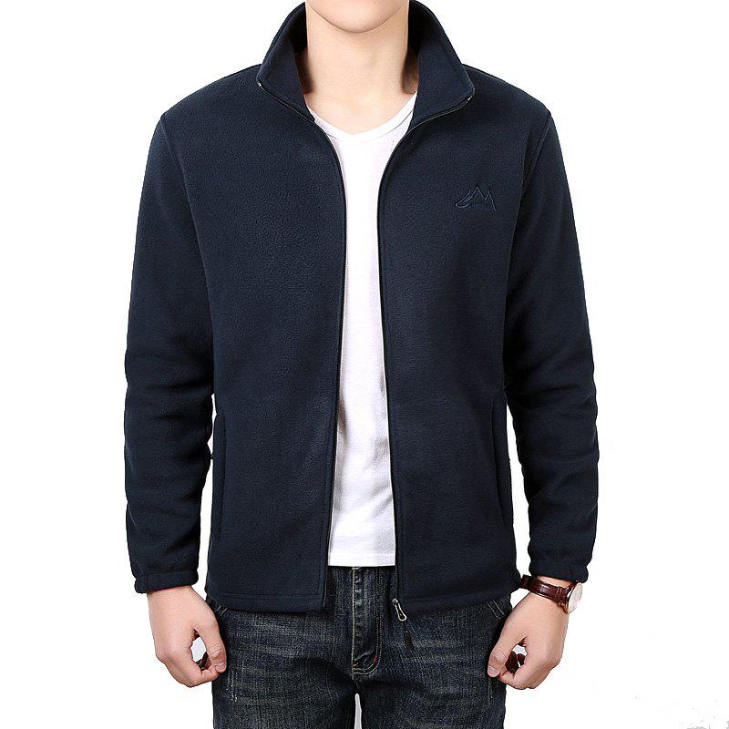 Men Casual Jacket Thicken Long Sleeve Stand Collar  Clothing - DEEP BLUE XL