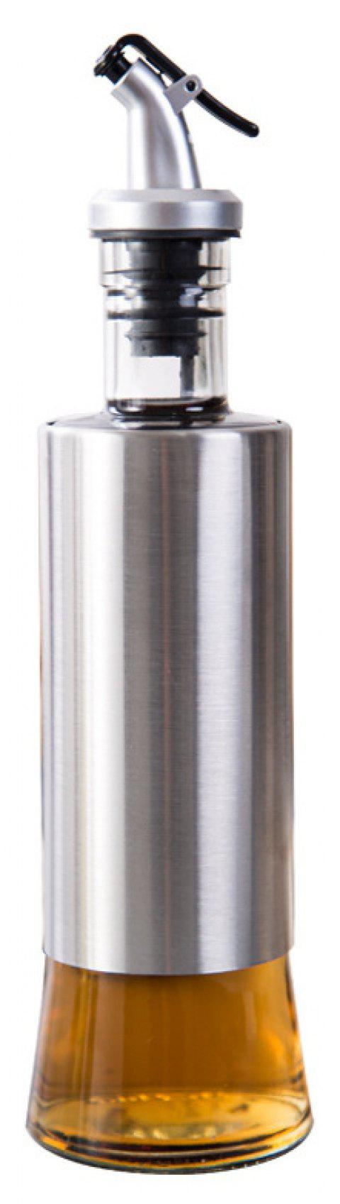 300ml Kitchen Glass Oil Can Stainless Steel Seasoning Sauce Bottle - SILVER