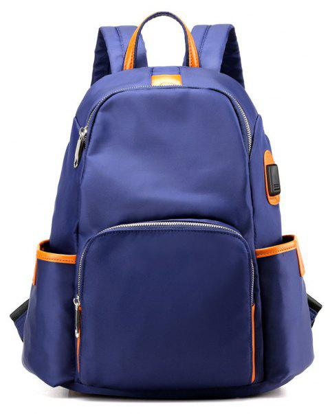 Large Capacity Casual Fashion Nylon School Travelling Backpack - DEEP BLUE