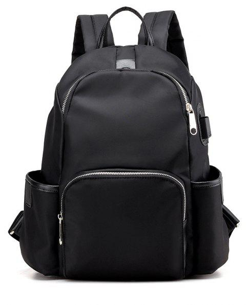 Large Capacity Casual Fashion Nylon School Travelling Backpack - BLACK