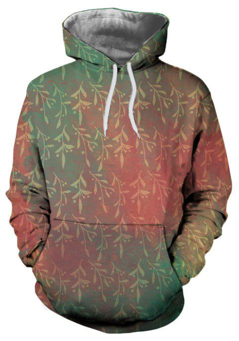 Autumn  Winter Willow Branches Printed Hooded Sweatshirt - multicolor 2XL