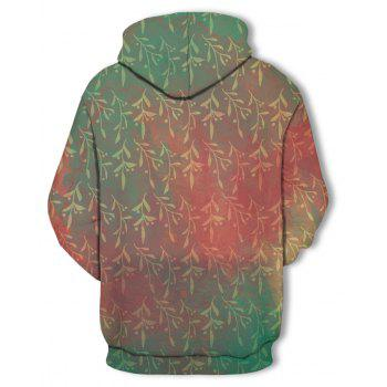 Autumn  Winter Willow Branches Printed Hooded Sweatshirt - multicolor 3XL