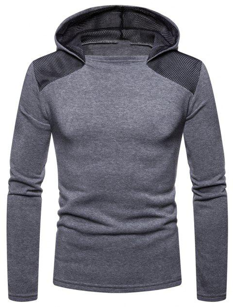 Men's Fashion High Quality Design Mesh Hooded Solid Color Casual Slim Sweater - LIGHT GRAY L