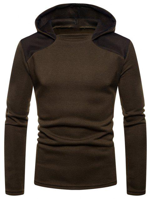 Men's Fashion High Quality Design Mesh Hooded Solid Color Casual Slim Sweater - DEEP COFFEE L
