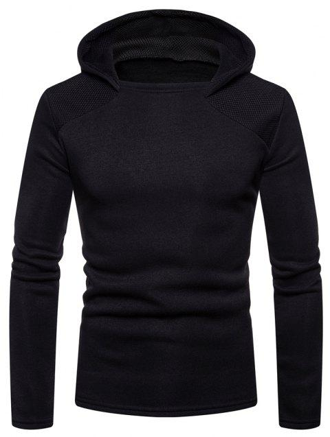 Men's Fashion High Quality Design Mesh Hooded Solid Color Casual Slim Sweater - BLACK M
