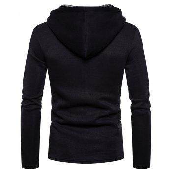 Men's Fashion High Quality Design Mesh Hooded Solid Color Casual Slim Sweater - BLACK XL