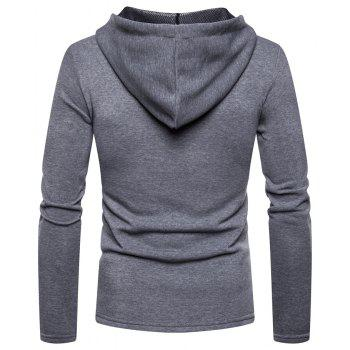 Men's Fashion High Quality Design Mesh Hooded Solid Color Casual Slim Sweater - LIGHT GRAY 2XL