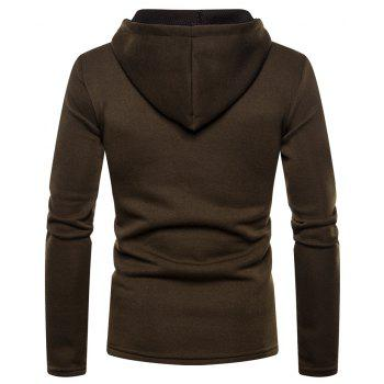 Men's Fashion High Quality Design Mesh Hooded Solid Color Casual Slim Sweater - DEEP COFFEE XL