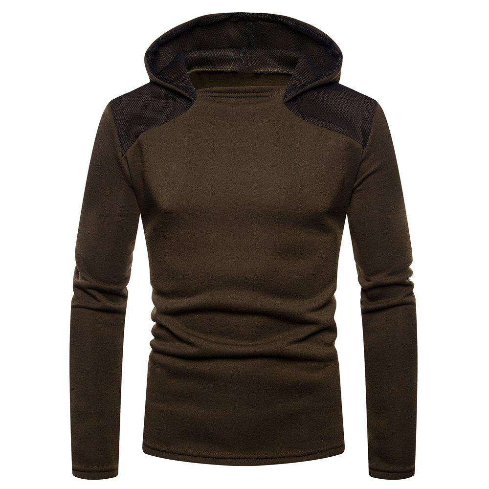 Men's Fashion High Quality Design Mesh Hooded Solid Color Casual Slim Sweater - DEEP COFFEE M