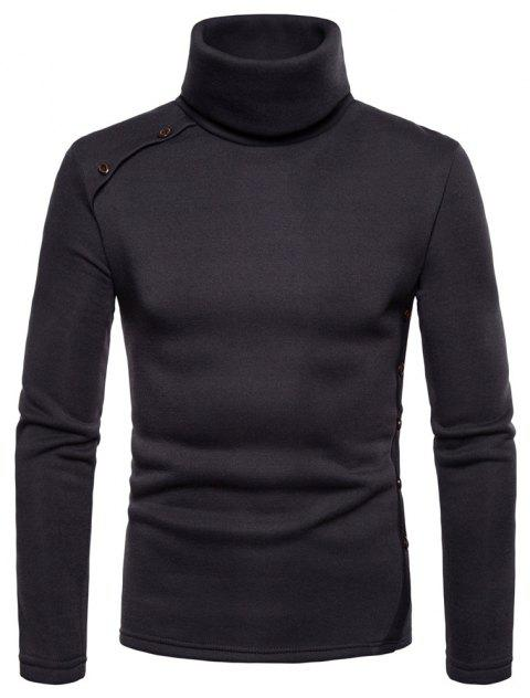 Bottoming Shirt Slim Men's High Collar Solid Color Sweater - DEEP COFFEE 2XL